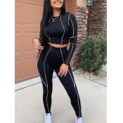 lovely Sportswear O Neck Patchwork Black Two Piece Pants Set