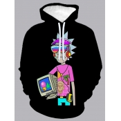 Lovely Casual Hooded Collar Cartoon Print Black Me