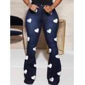 Lovely Stylish Heart Print Deep Blue Jeans