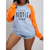 lovely Casual O Neck Letter Print Patchwork Grey H