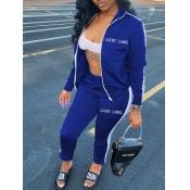 Lovely Sportswear Letter Patchwork Blue Two Piece Pants Set