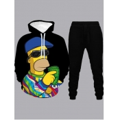 lovely Casual Hooded Collar Cartoon Print Black Men Two-piece Pants Set