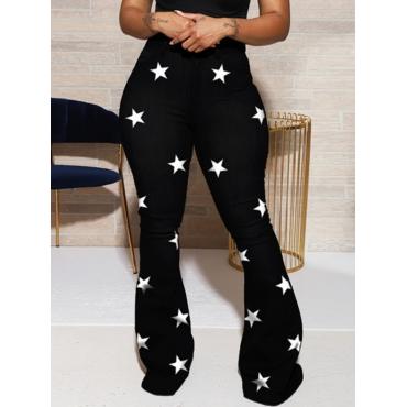 Lovely Casual Pentagram Print Black Jeans