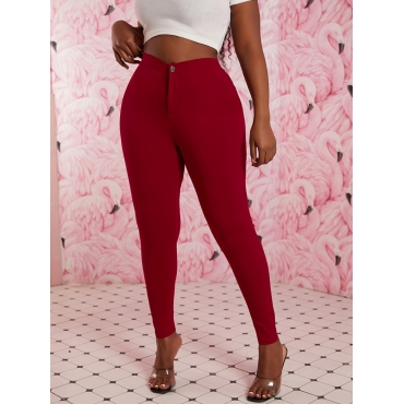 Lovely Casual Basic Skinny Wine Red Jeans