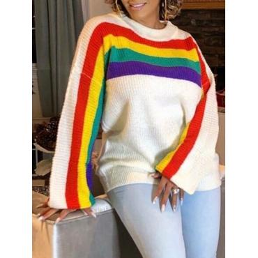 lovely Stylish O Neck Rainbow Striped White Sweater - $15.49