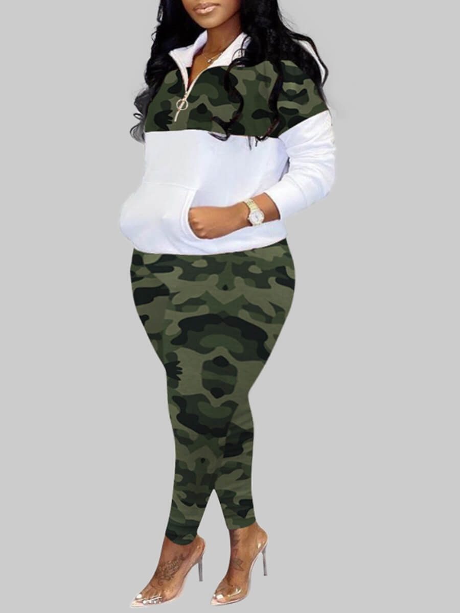 Lovely Plus Size Sportswear Turndown Collar Camo Print Patchwork Green Two-piece Pants Set