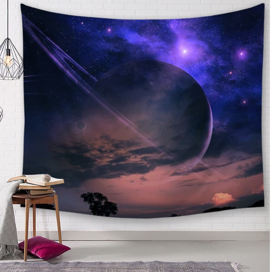 Lovely Chic Starry Sky Print Purple Table Linens
