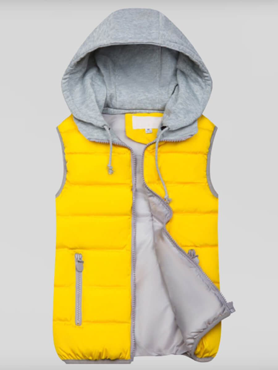 Lovely Casual Hooded Collar Patchwork Yellow Waist