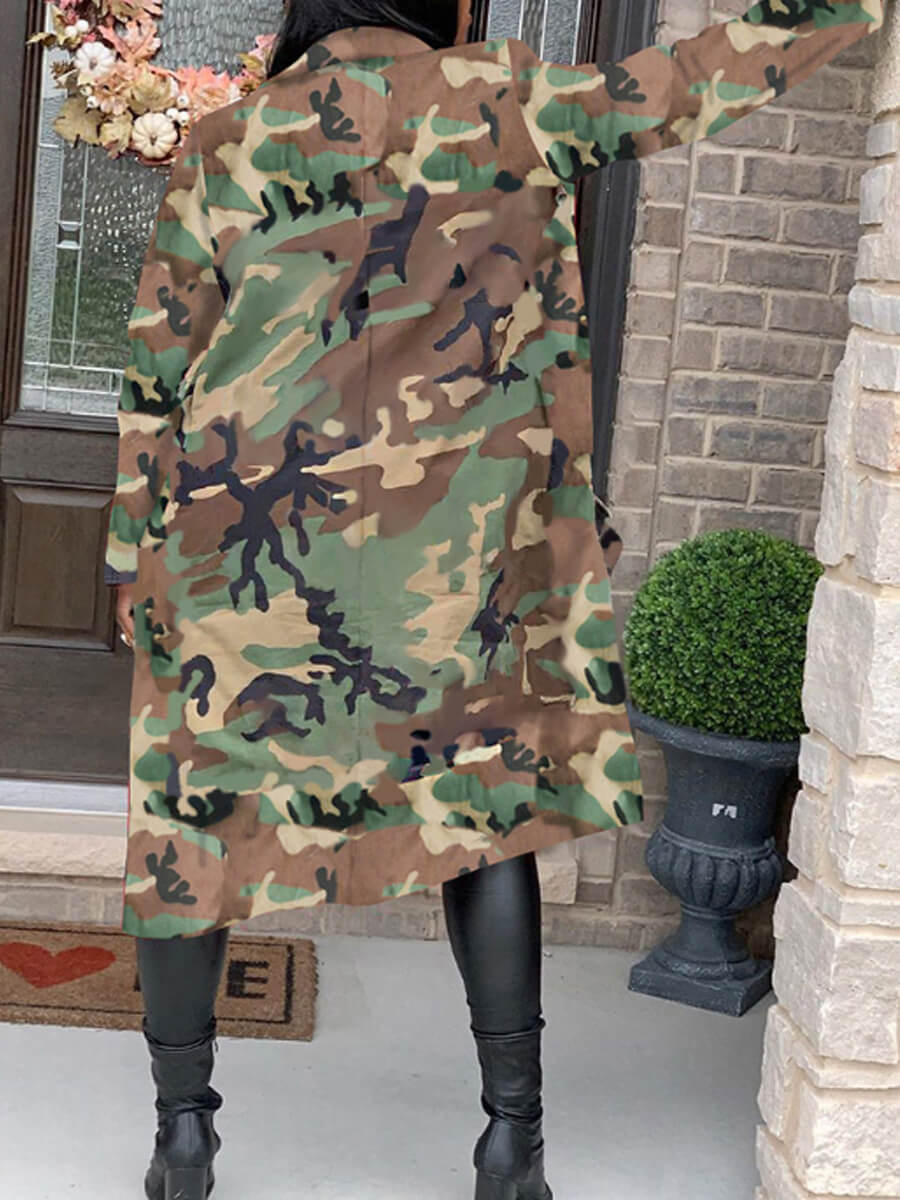 Lovely Stylish Turndown Collar Camo Print Army Gre