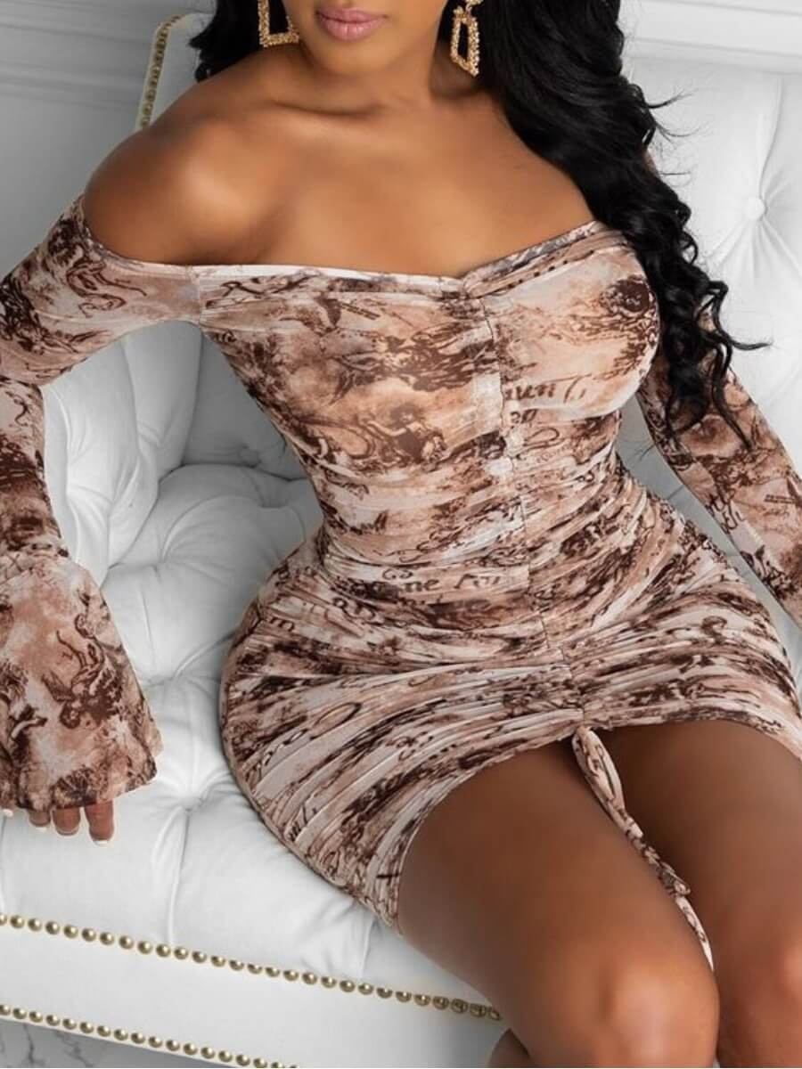 Lovely Sweet Dew Shoulder Print Coffe Mini Dress