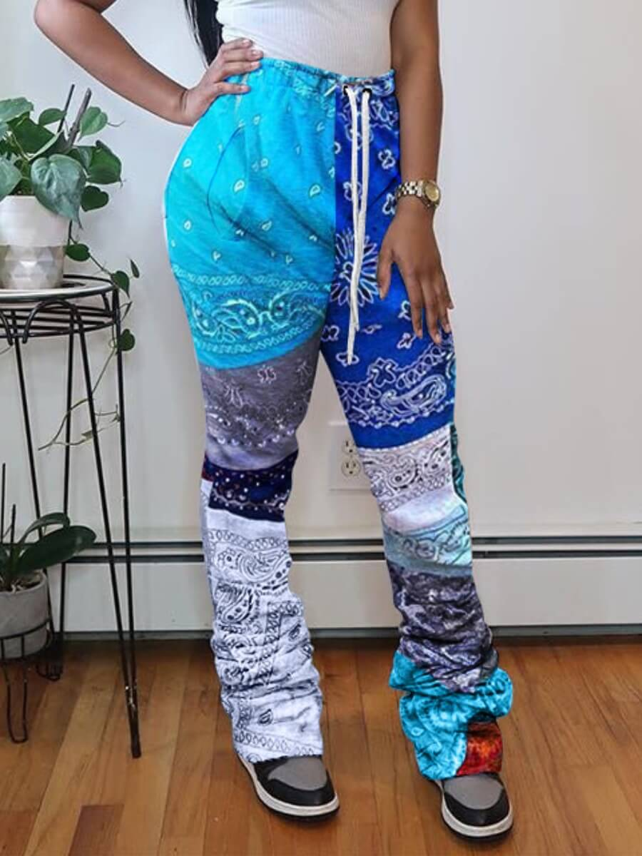 Lovely Street Print Blue Pants