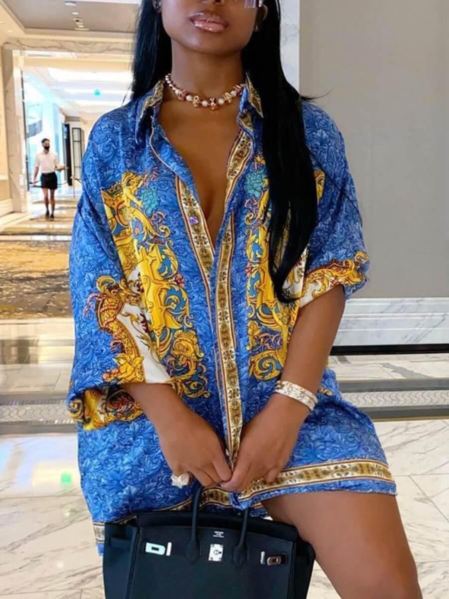 Lovely Stylish Turndown Collar Print Blue Mini Plus Size Dress