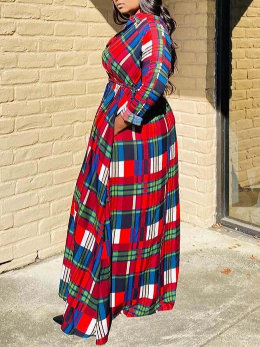 LW Plus Size Casual Turndown Collar Grid Print Red Long Coat