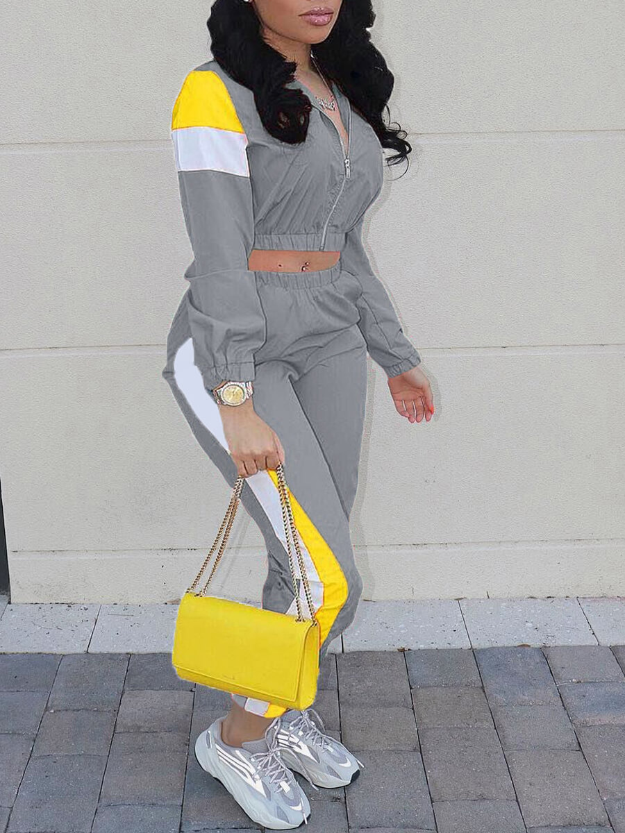 LW Sportswear Turndown Collar Patchwork Zipper Design Grey Two Piece Pants Set