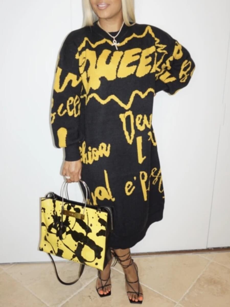 Lovely Trendy O Neck Letter Print Black Mid Calf D