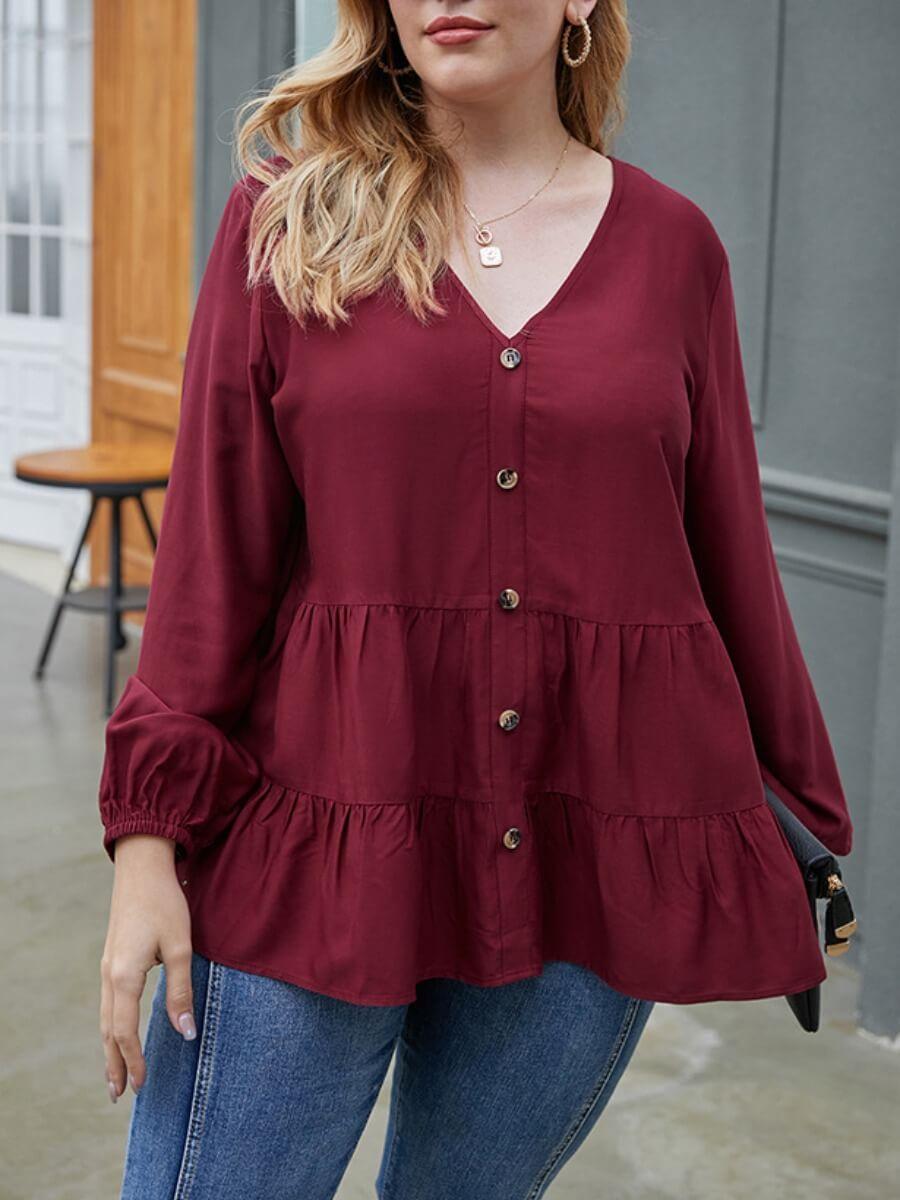 LW Sweet V Neck Buttons Fold Design Wine Red Blouse
