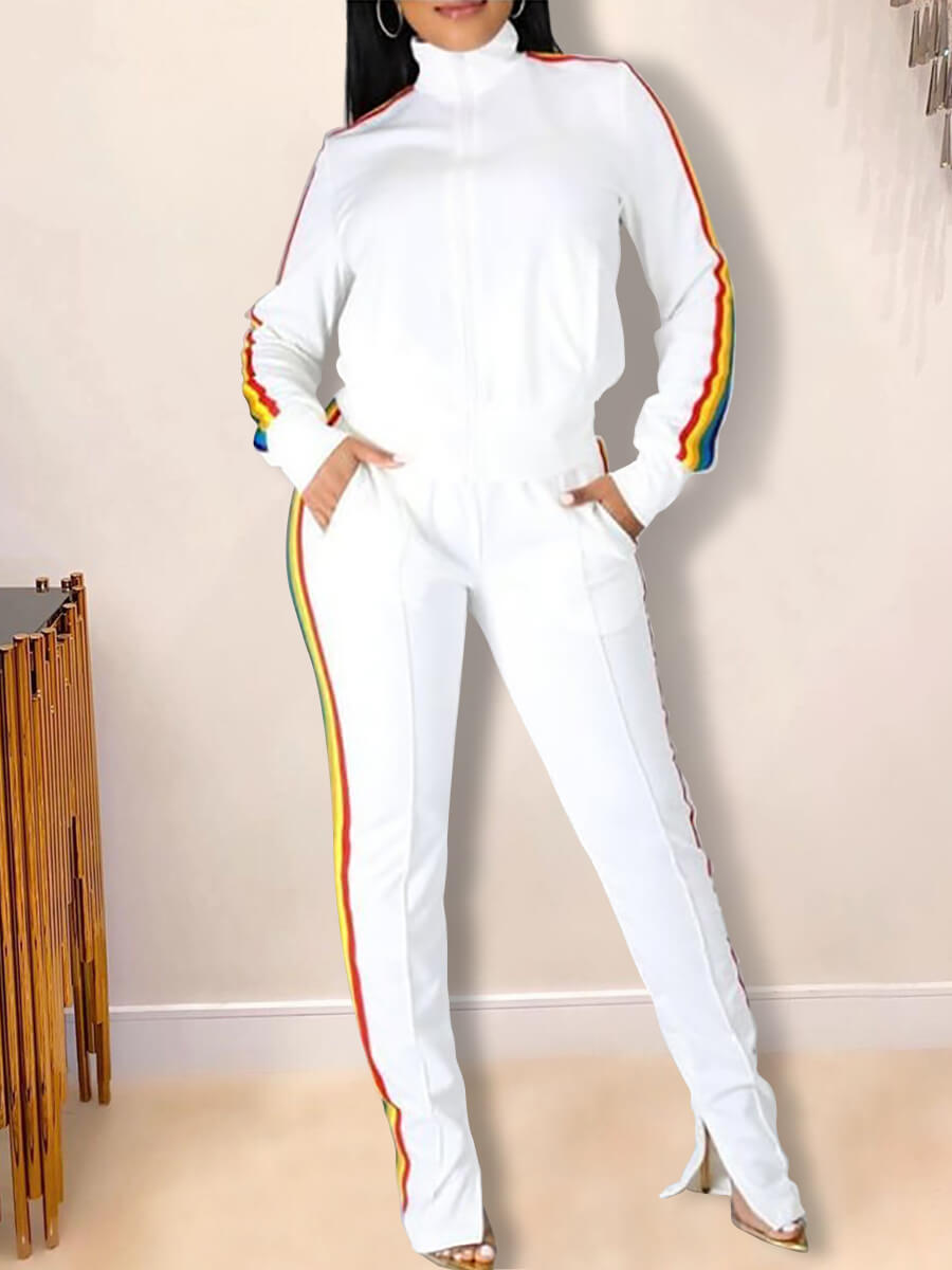 Lovely Casual Turndown Collar Rainbow Striped Patc