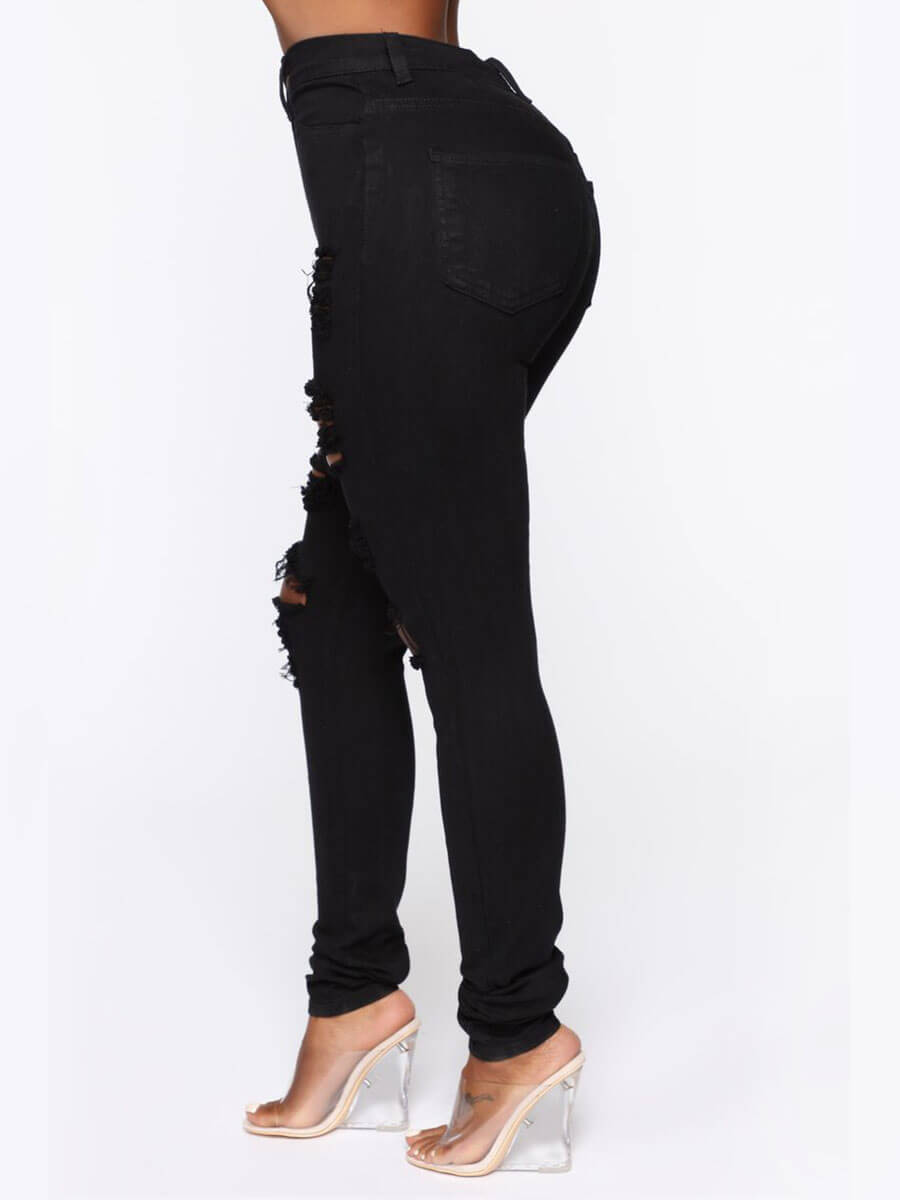 Lovely Street Hollow-out Skinny Black Jeans