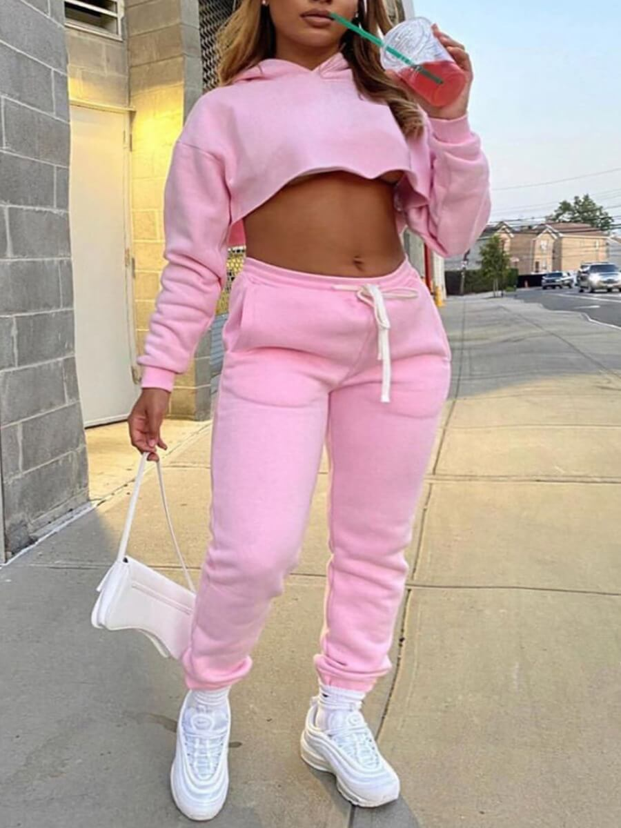 LW Casual Hooded Collar Crop Top Pink Two Piece Pants Set