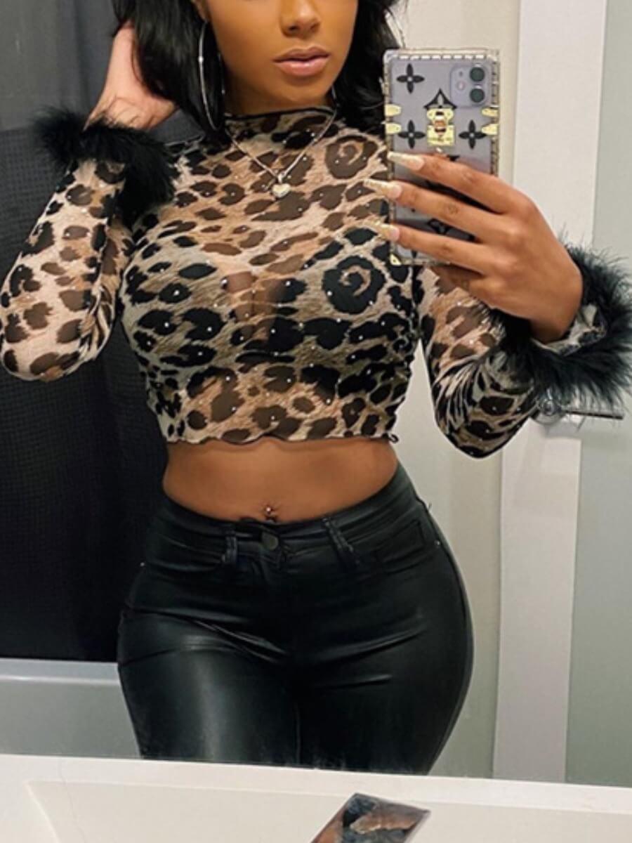 Lovely Stylish Leopard Print Skinny Base Layer