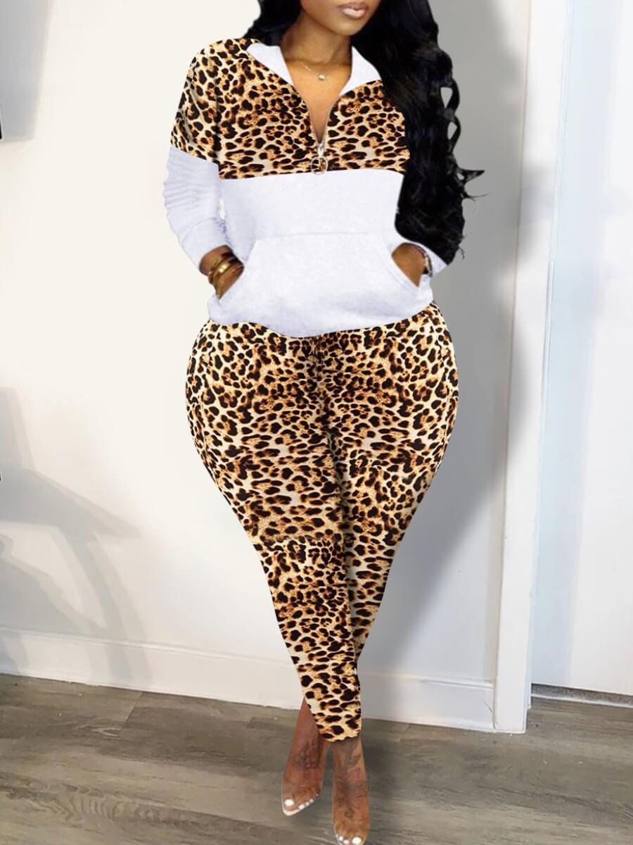 Lovely Trendy Turndown Collar Leopard Print Patchw