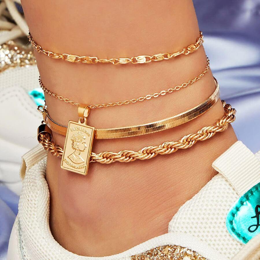 Lovely Stylish 3-piece Gold Body Chain