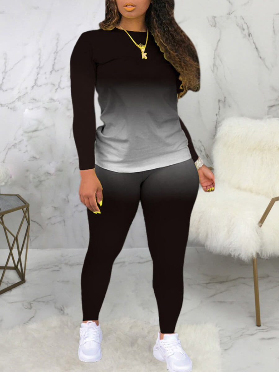 Lovely Casual O Neck Gradient Print Black Two Piec