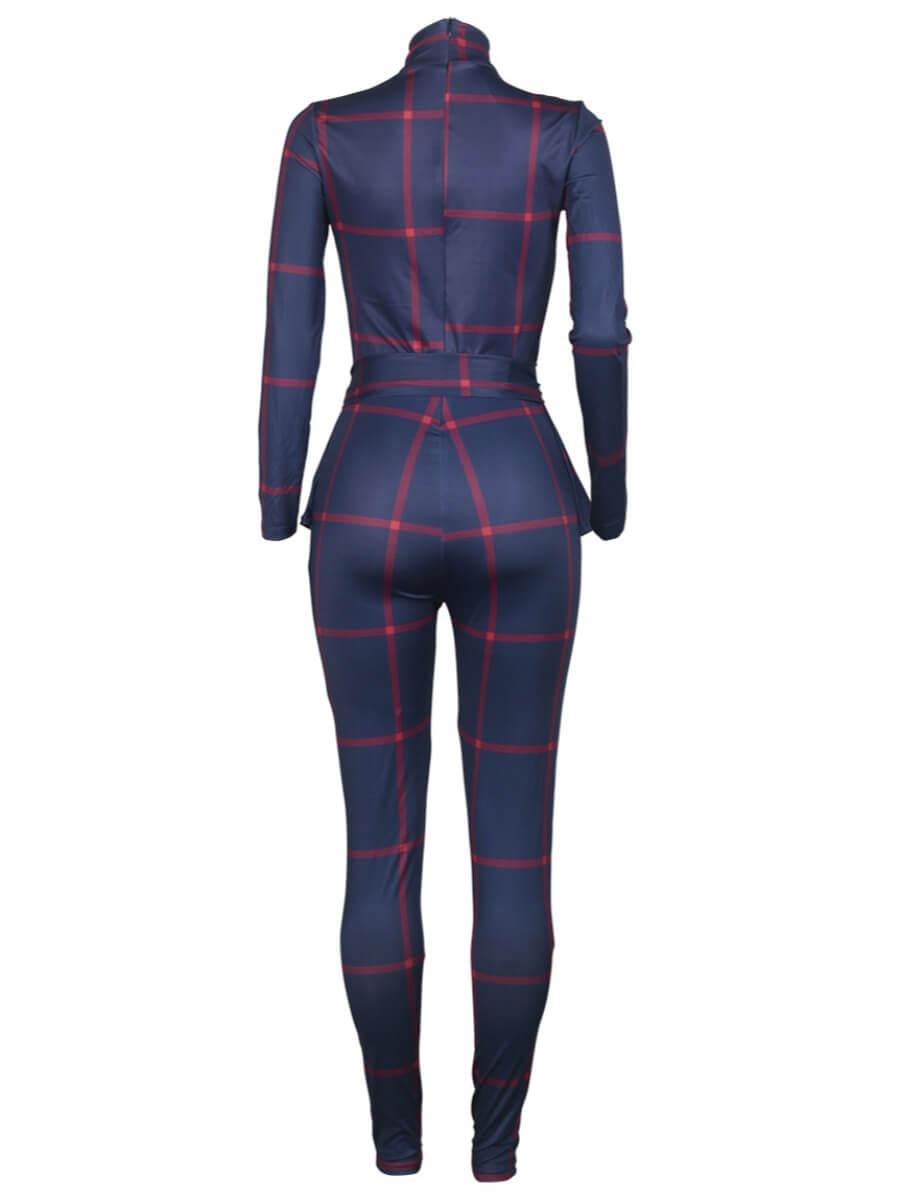 LW Stylish Half A Turtleneck Grid Print Blue One-piece Jumpsuit