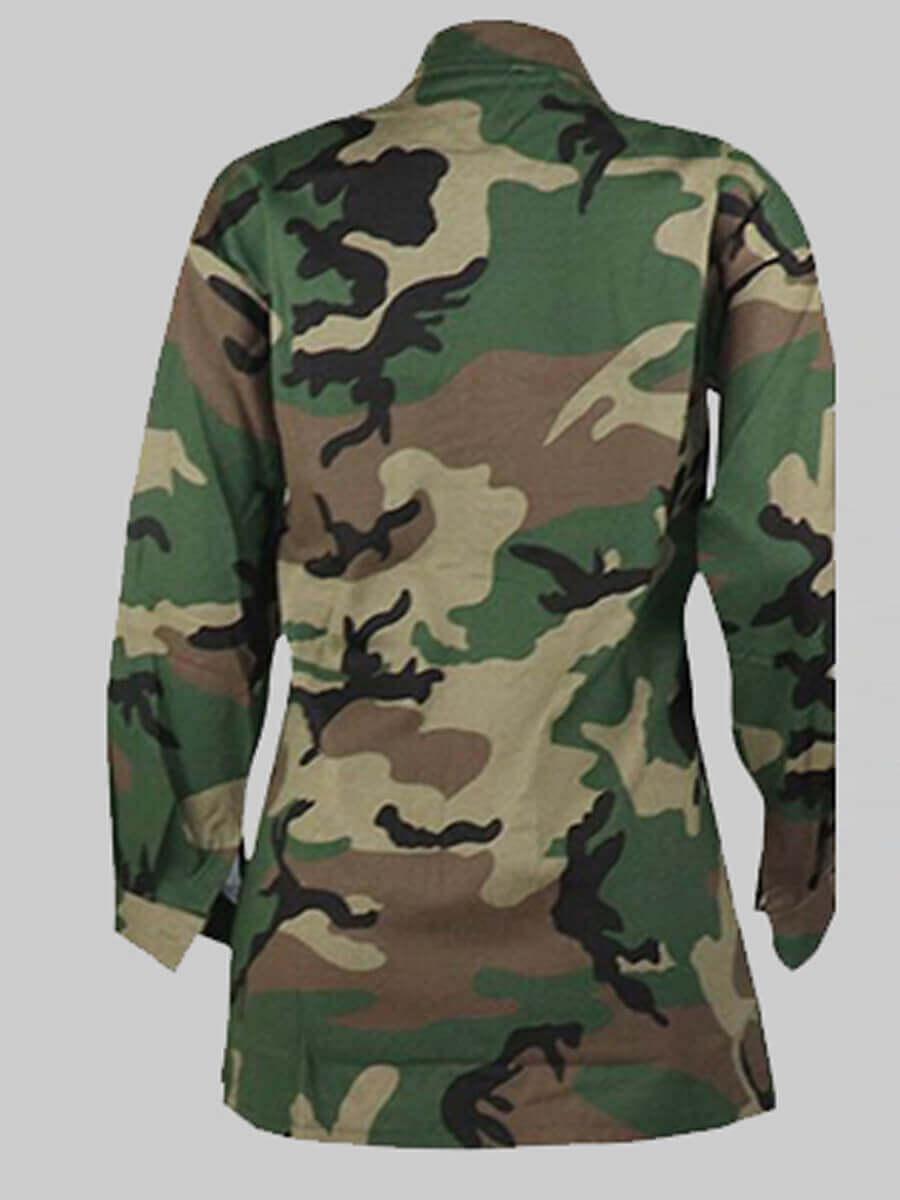 Lovely Stylish Turndown Collar Camo Print Coat