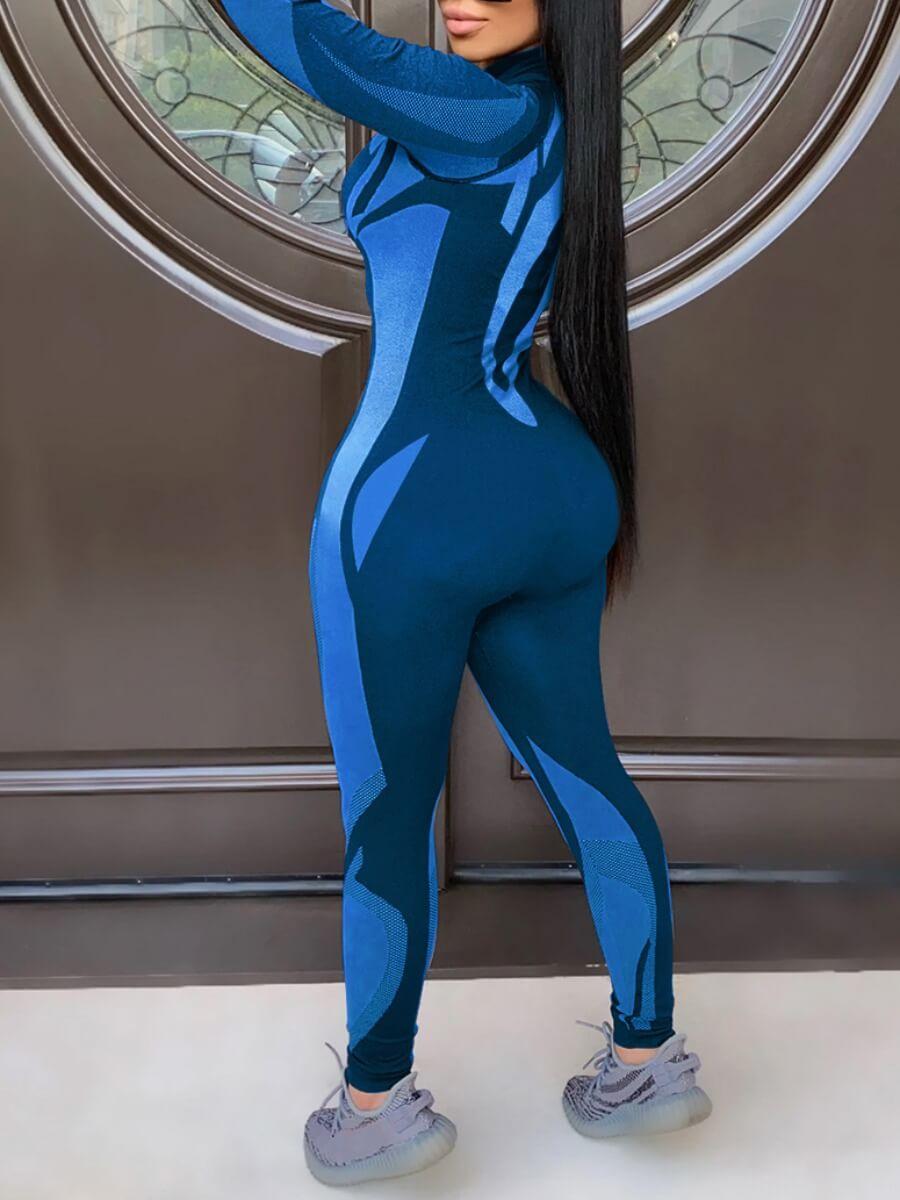 LW Color-lump Zipper Design Jumpsuit
