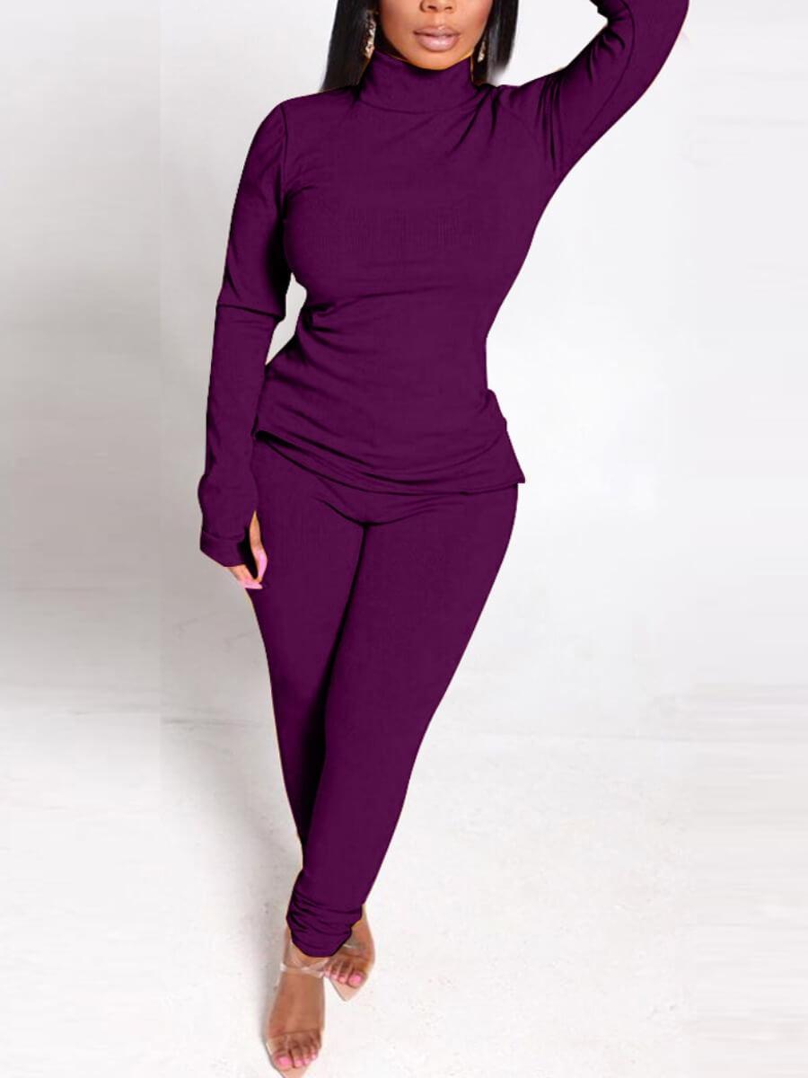LW BASICS  Leisure Hooded Collar Print Loose Purple Two Piece Pants Set