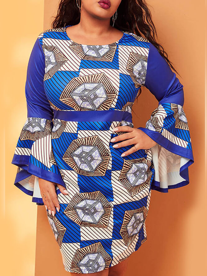 Lovely Trendy O Neck Print Blue Knee Length Plus S
