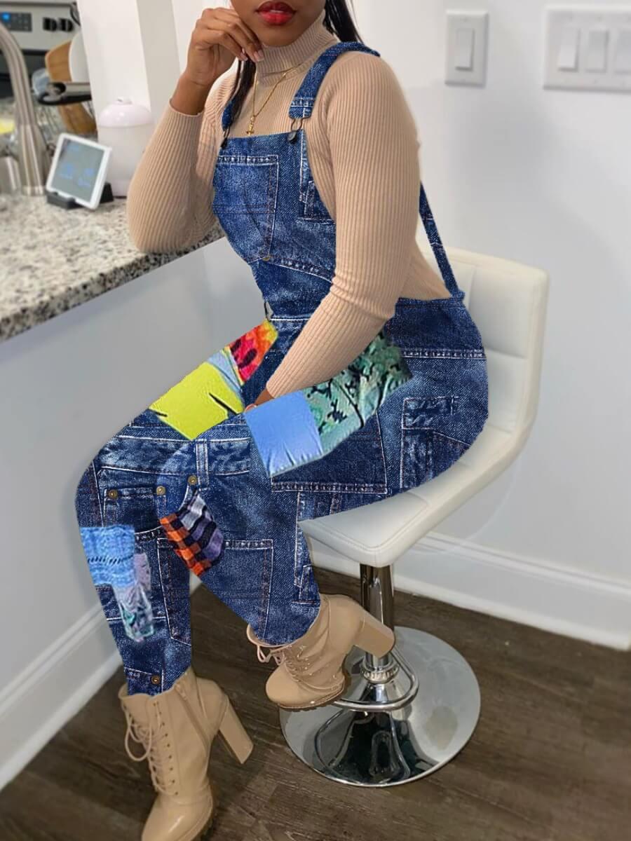 LW Trendy Print Blue One-piece Jumpsuit