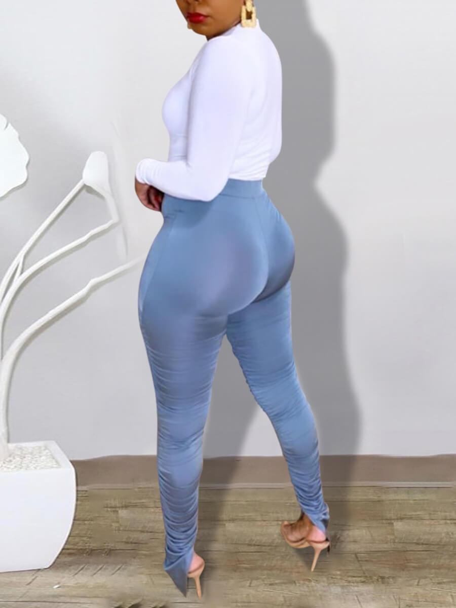 Lovely Trendy Deep V Neck Fold Design Blue Two Piece Pants Set