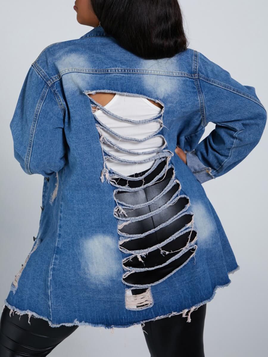 Lovely Stylish Turndown Collar Broken Holes Blue P