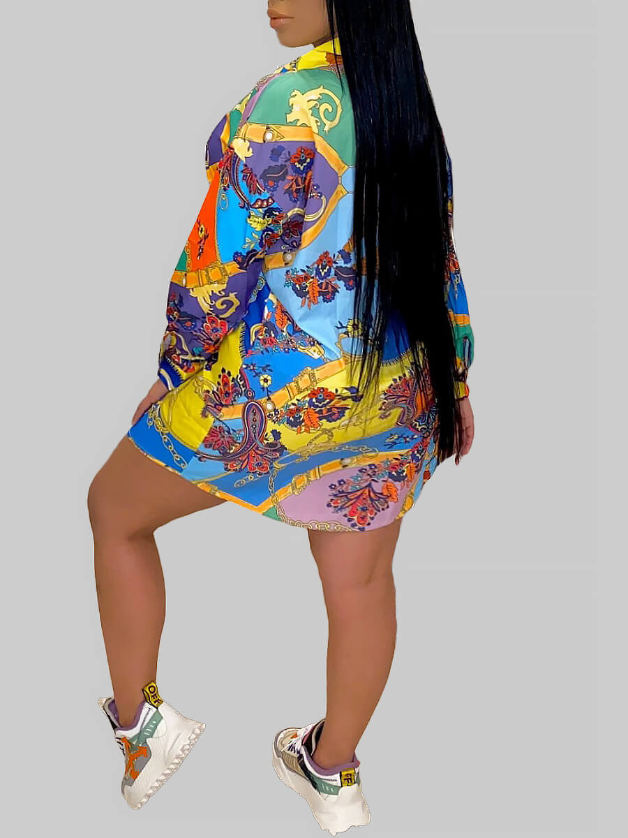 Lovely Casual Turndown Collar Print Multicolor Min