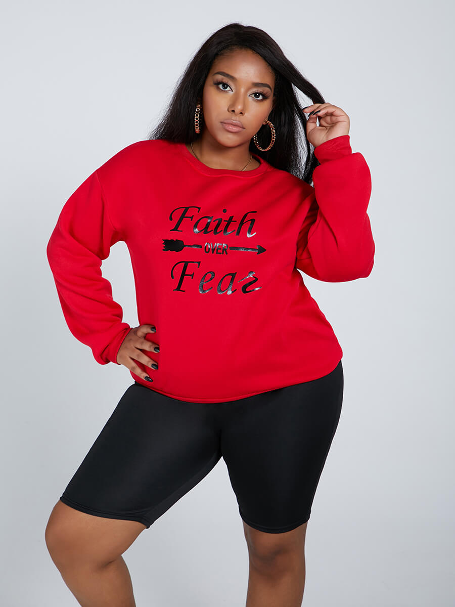 Lovely Casual O Neck Letter Print Red Plus Size Ho