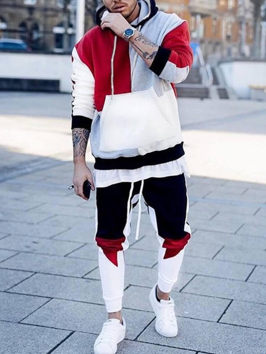 LW Men Casual Hooded Collar Color-lump Patchwork Multicolor Two-piece Pants Set