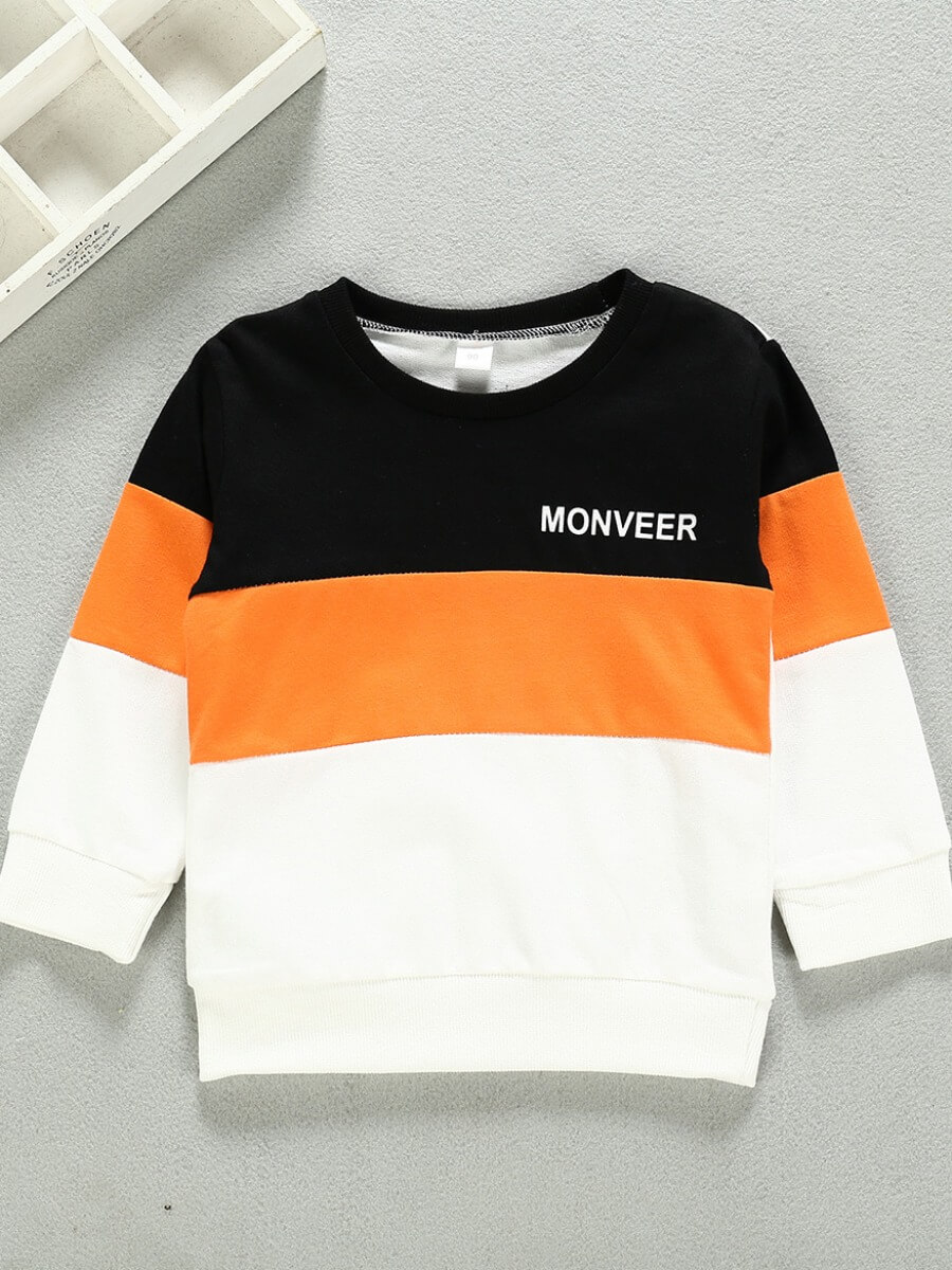 LW Lovely Casual O Neck Patchwork Black Boy Hoodie