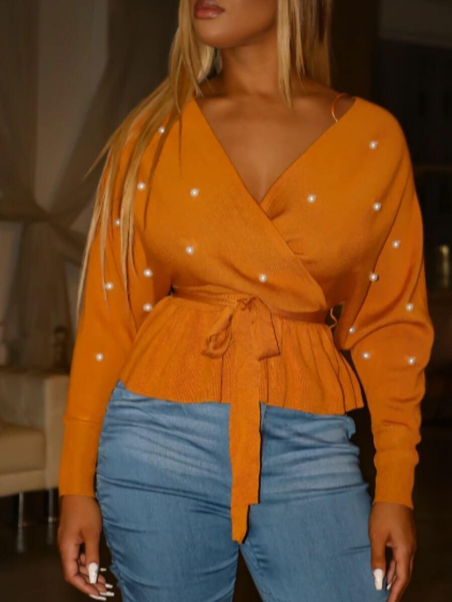 lovely Trendy V Neck Pearl Decorative Fold Design Croci Sweater