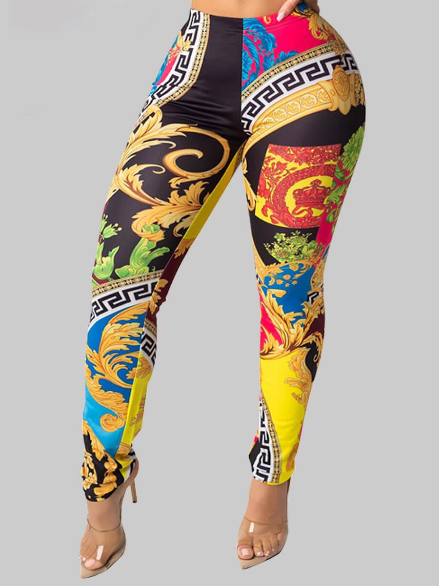 LW Lovely Street Print Skinny Black Leggings