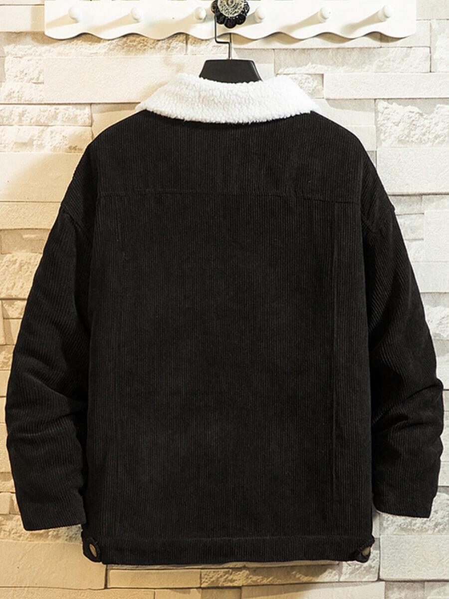Lovely Trendy Turndown Collar Buttons Design Black Men Jacket