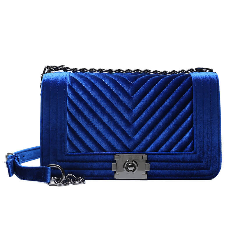 Lovely Stylish Chain Strap Blue Crossbody Bag