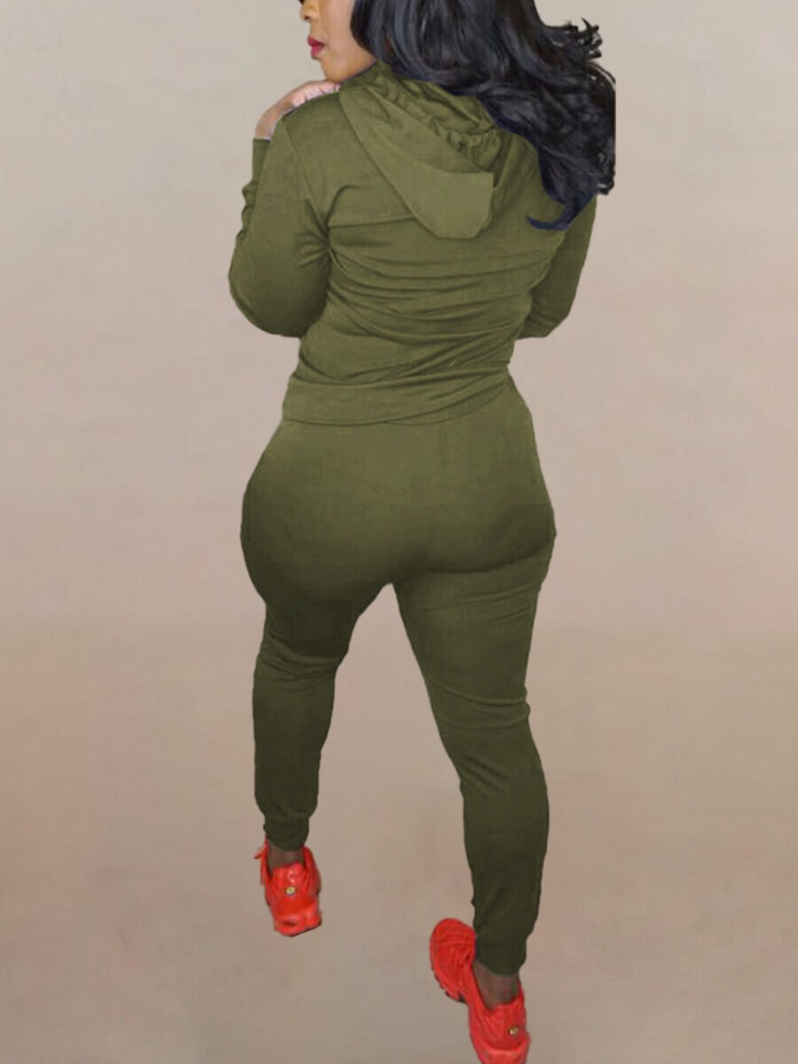 Lovely Casual Hooded Collar Zipper Design Broken Holes Army Green Two Piece Pants