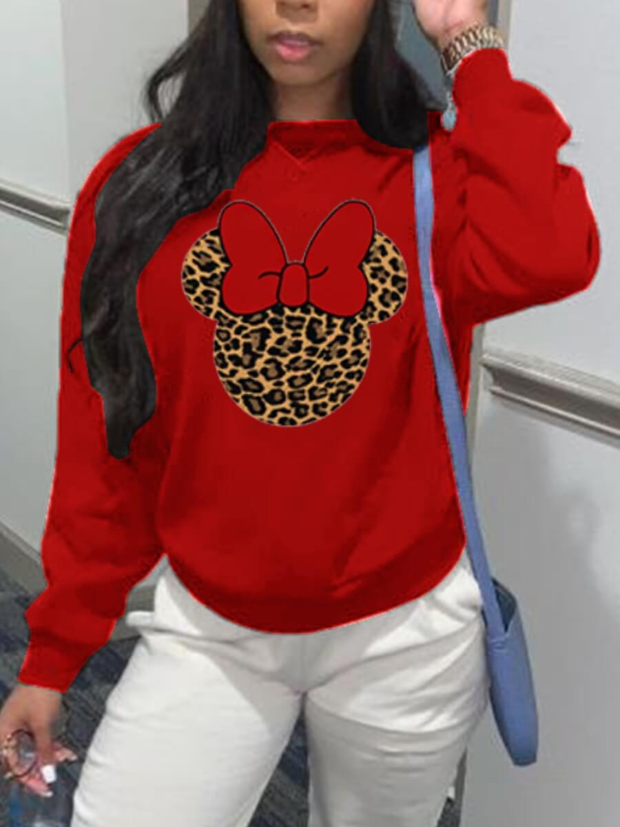 LW Lovely Casual O Neck Print Red Hoodie