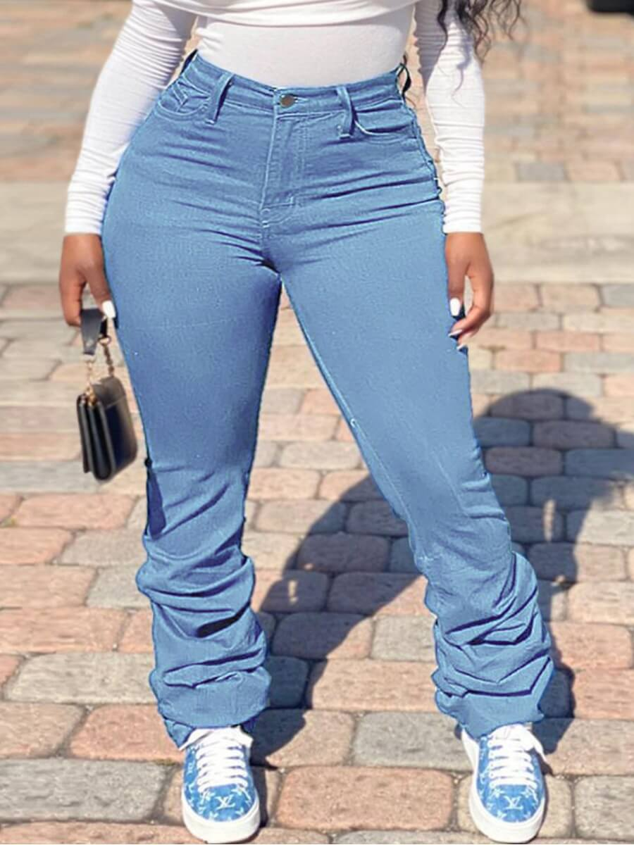 Lovely Stylish Heap Baby Blue Plus Size Jeans