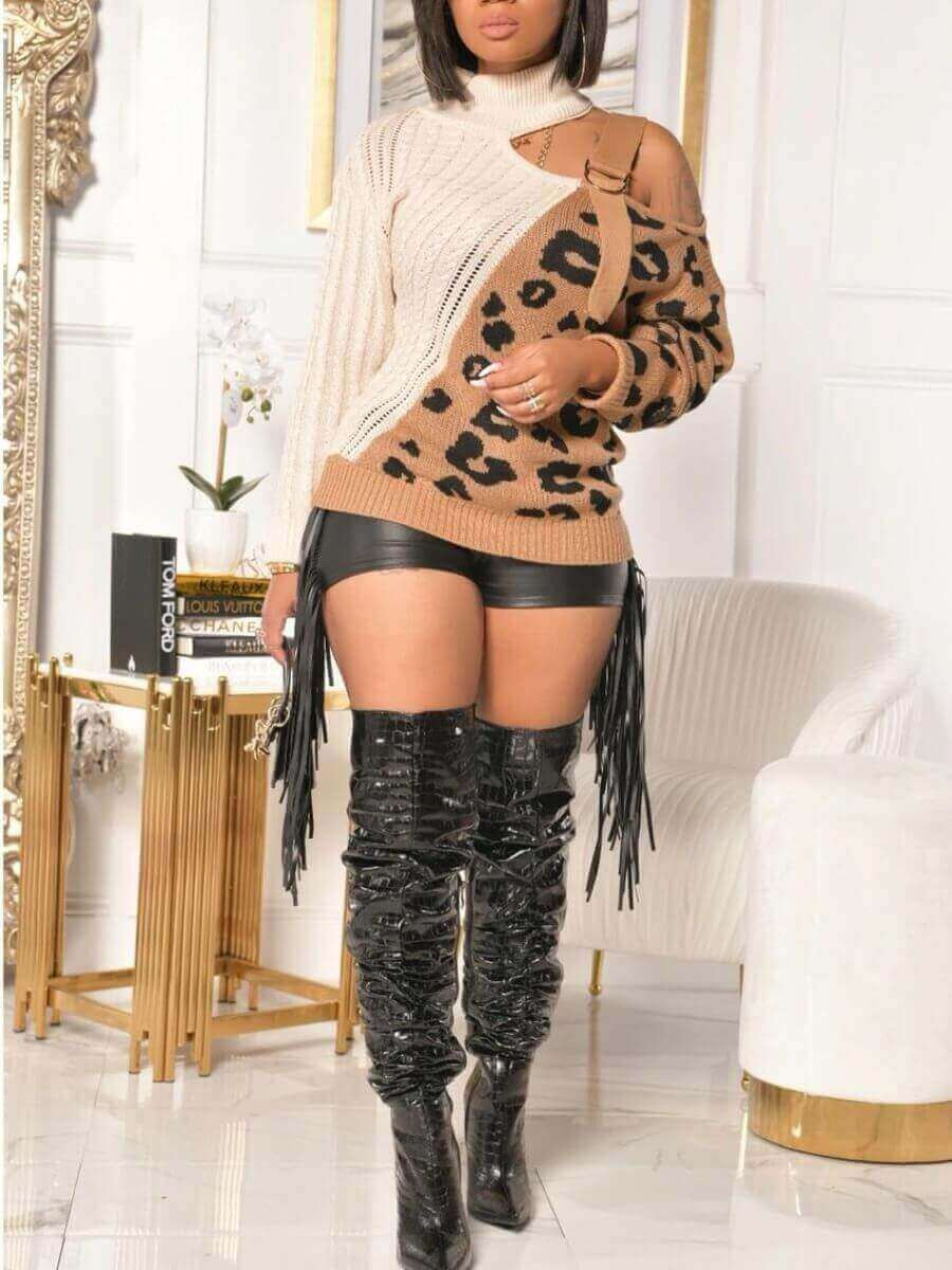 lovely Stylish One Shoulder Leopard Print Hollow-out Sweater