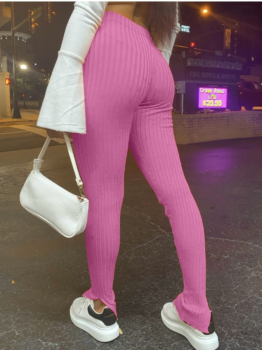 LW Lovely Casual Striped Skinny Pink Pants