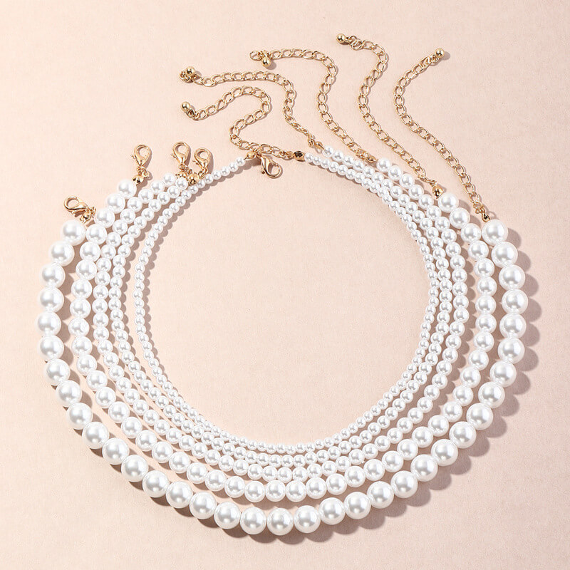 LW Lovely Trendy Pearl White Necklace