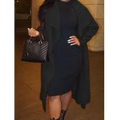 lovely Stylish Turndown Collar Asymmetrical Black